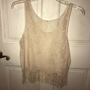 Lace tank top with fringe